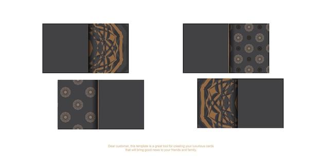 Een visitekaartje voorbereiden met een plaats voor uw tekst en vintage ornamenten. grijs visitekaartjeontwerp met griekse patronen.