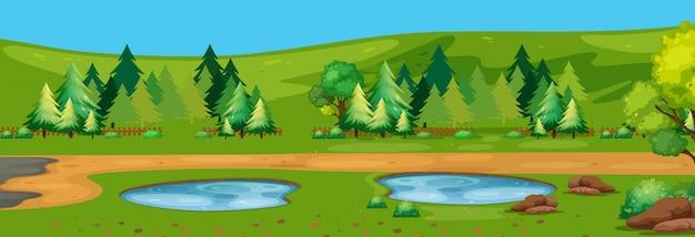 Een vlakke natuur landschap-achtergrond