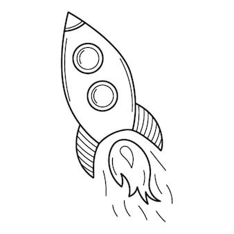 Een vliegende raket. tekening. een opstartsymbool. handgetekende zwart-wit vectorillustratie.