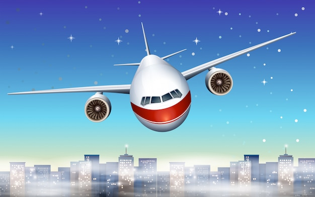 Een vliegtuig boven de stad