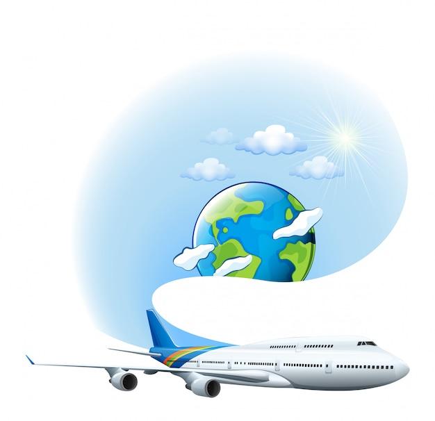 Een vliegtuig en een wereldbol