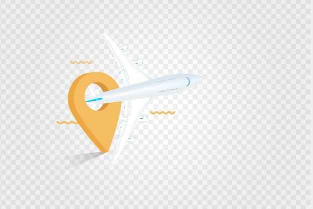Een vliegtuig en kaartpunt