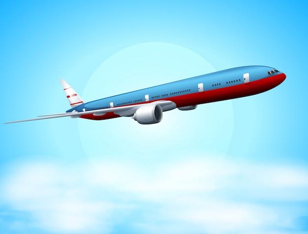 Een vliegtuig in de lucht