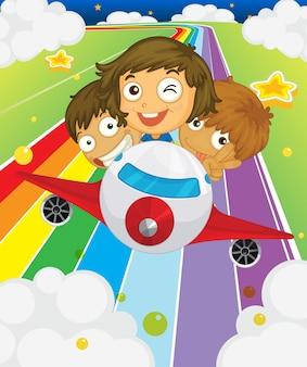 Een vliegtuig met drie speelse kinderen