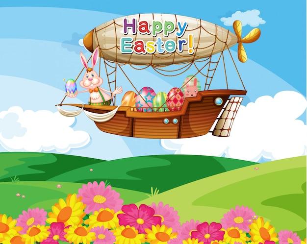 Een vliegtuig met een happy easter-groet die de kleurrijke eieren draagt