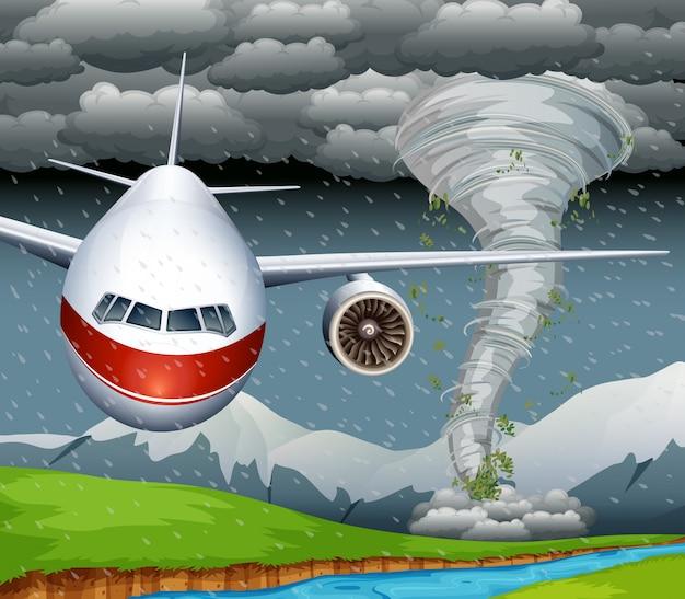 Een vliegtuiggeld van tyfoon