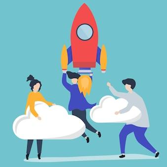 Een volk dat vasthoudt aan een gelanceerde raket en wolken