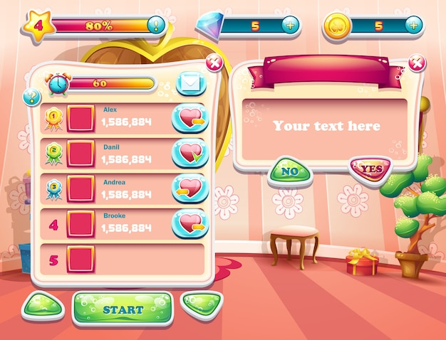 Een voorbeeld van een van de schermen van het computerspel met een prinses op de achtergrond, een gebruikersinterface en een ander element. set 2