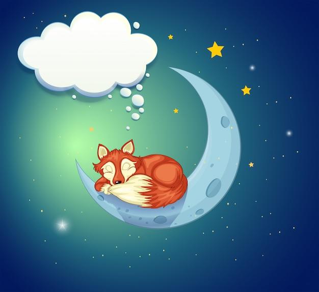 Een vos die boven de maan slaapt