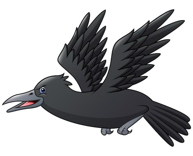 Een vreselijke kraai vliegende cartoon