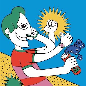 Een vrolijke jongeman die van bier geniet, telefoneert en creatieve dingen doet. hij was een gelukkige jonge man. een vectorillustratie van een doodle