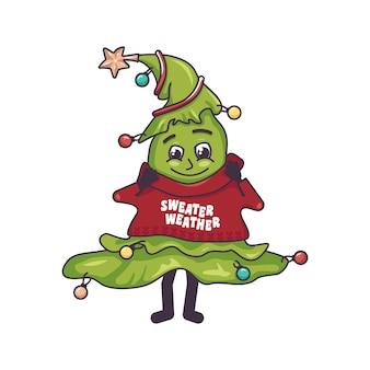 Een vrolijke kerstboom met een vrolijk gezicht glimlach ogen armen en benen en in een wollen gebreide trui v...