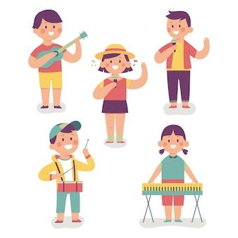 Een vrolijke kinderband, ze zingen en spelen muziekinstrumenten