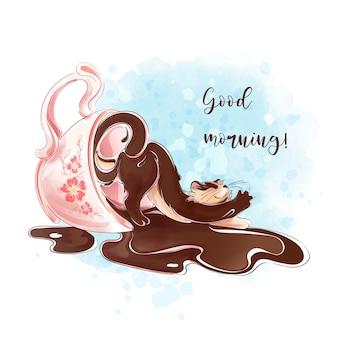 Een vrolijke koffiekat wordt wakker en komt uit een roze koffiekopje.