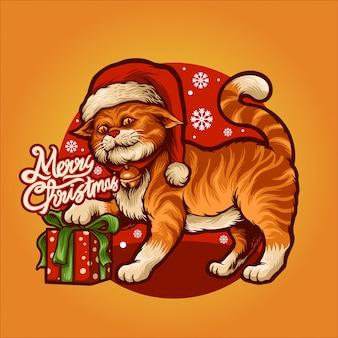 Een vrolijke oranje kat op de hoed van de kerstman
