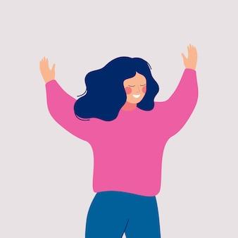 Een vrolijke vrouw neemt deel aan een evenement met haar open armen. gelukkig vrouwelijk stripfiguur met opgeheven handen geïsoleerd op wit