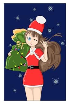 Een vrouw de kerstman