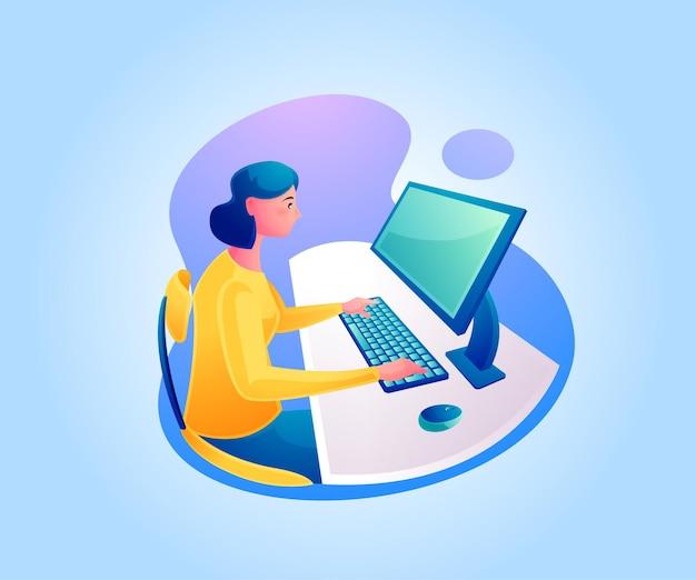 Een vrouw die aan een bureau werkt of vanuit huis werkt