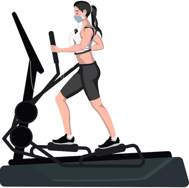 Een vrouw die een elliptische machine gebruikt
