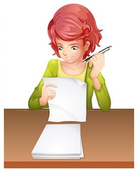 Een vrouw die een examen aflegt