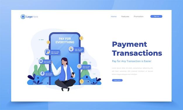 Een vrouw die een financiële mobiele app gebruikt voor elk transactieconcept