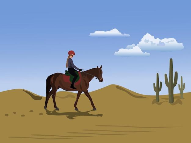 Een vrouw die een paard berijdt in de woestijn met lucht en wolken op de achtergrond.