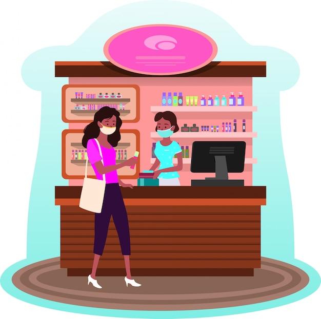 Een vrouw die haar nieuwe schoonheidsmiddelenproducten bij schoonheidsmiddelenwinkel koopt