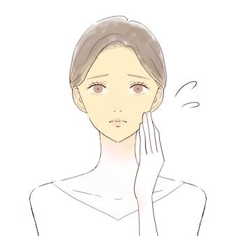 Een vrouw die lijdt aan een doffe huid. op een witte achtergrond.