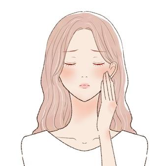 Een vrouw die lijdt aan zonnebrand. op een witte achtergrond.