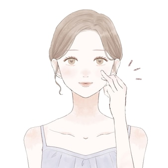 Een vrouw die met haar ringvinger medicijnen en crème op haar gezicht smeert. op een witte achtergrond.