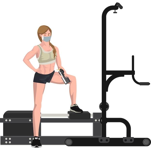 Een vrouw die op fitnessapparatuur rust