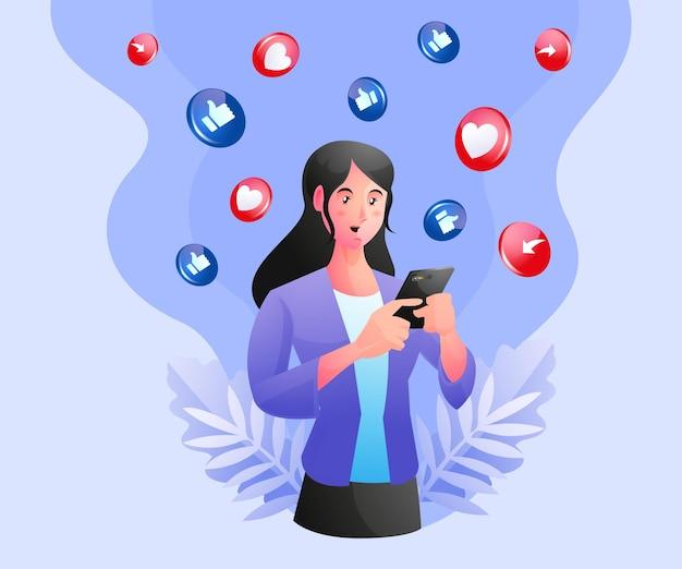 Een vrouw die sociale media gebruikt