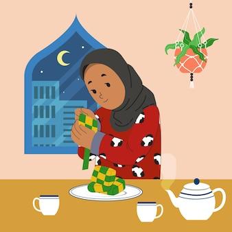 Een vrouw die thuis ketupat maakt om eid fitr / hari raya / vasten te vieren. Premium Vector
