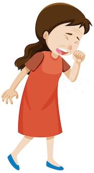Een vrouw die verkouden is