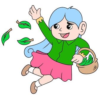 Een vrouw die vrolijk rent, strooit met bladeren terwijl ze de lente verwelkomt, doodle teken kawaii. illustratie kunst