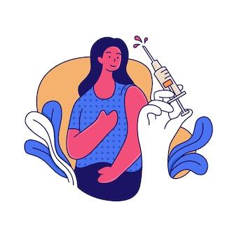 Een vrouw die wordt gevaccineerd door medisch personeel
