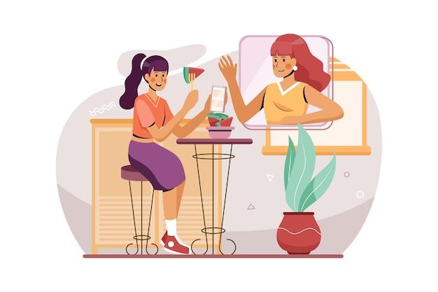 Een vrouw gebruikt haar telefoon om een online ontmoeting met vrienden illustratie concept te maken