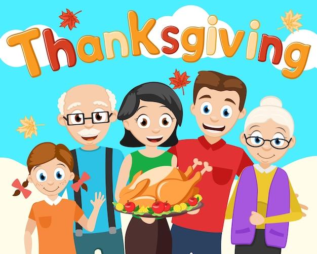 Een vrouw houdt een gebraden kalkoen vast, een feestelijk diner voor het hele gezin. thanksgiving dag