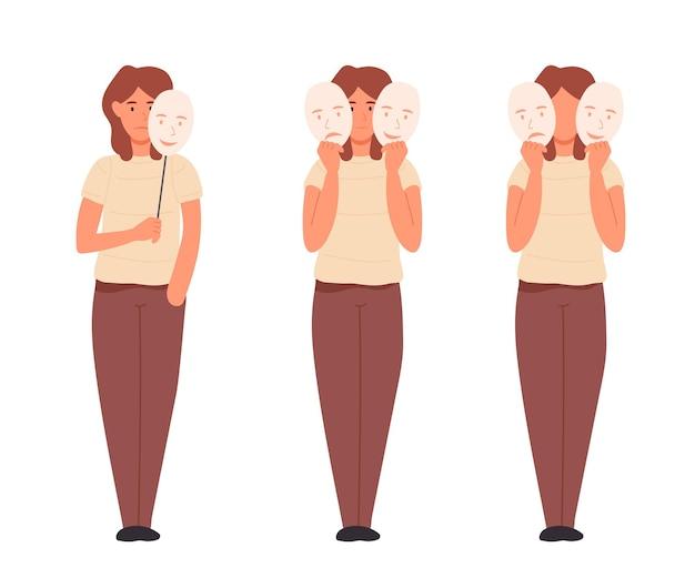 Een vrouw houdt sociale maskers in haar handen die haar echte emoties verbergen