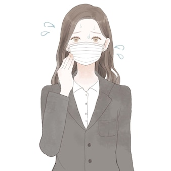 Een vrouw in een pak die last heeft van dampen door het dragen van een masker. op witte achtergrond.