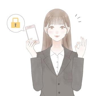 Een vrouw in een pak met een smartphone met veiligheidsmaatregelen. op witte achtergrond.