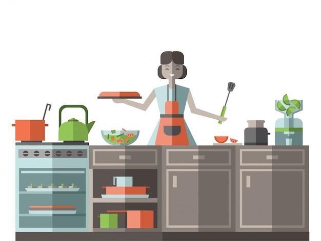 Een vrouw in een schort die voedsel in de keuken voorbereidt. illustratie, op wit.