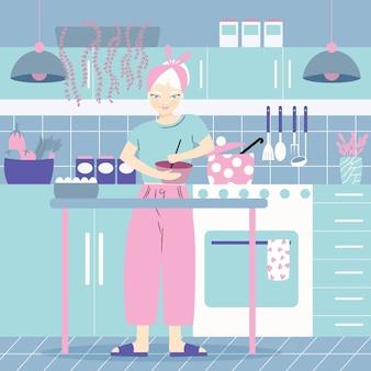 Een vrouw in haar keuken koken, met voedsel. thuissfeer, gezond eten, wereldvoedseldag. vlak
