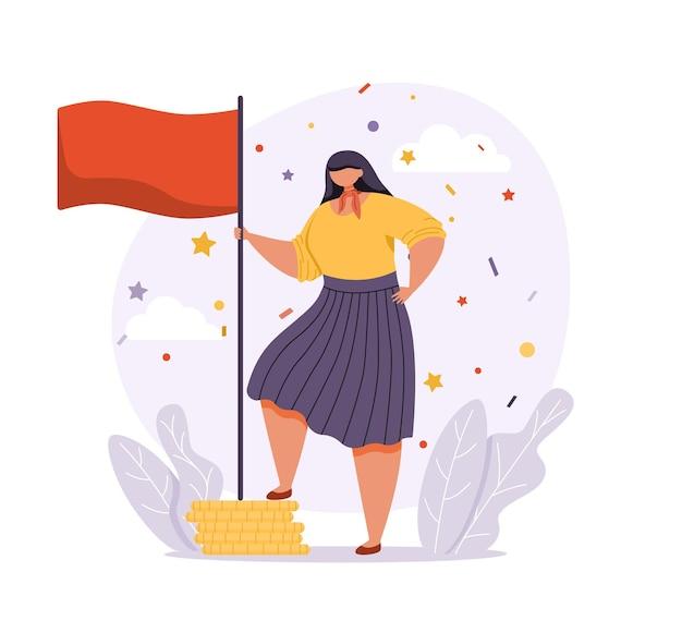Een vrouw in zakelijke kleding staat in een zelfverzekerde pose en houdt de winnaarsvlag vast.