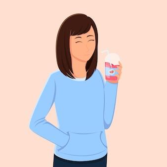 Een vrouw is blij met een glas aardbeiendrank in de hand
