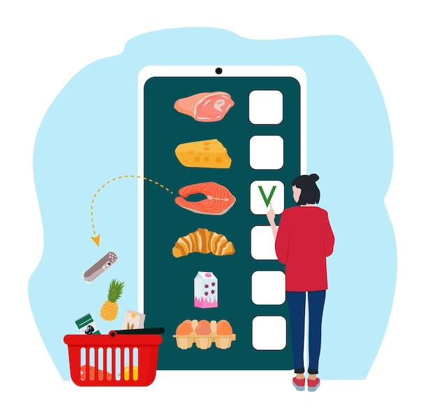 Een vrouw koopt eten in een mobiele app. online supermarkt, boodschappen bestellen.