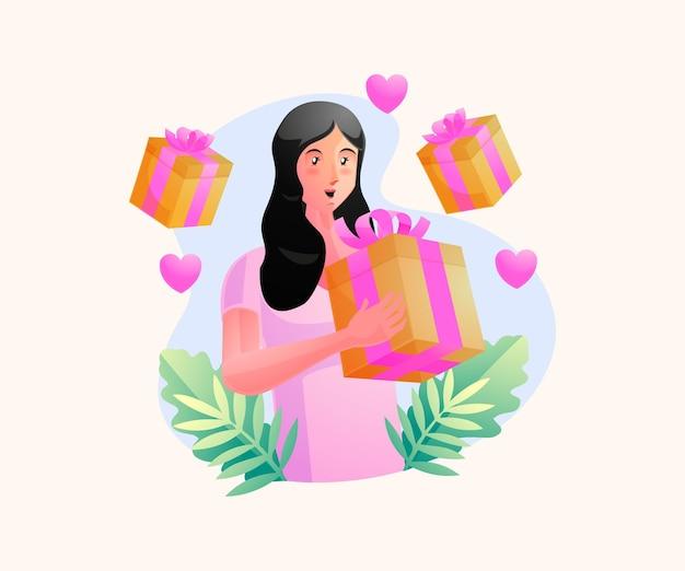 Een vrouw krijgt een geschenkdoos