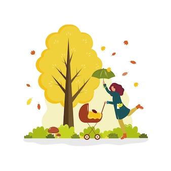 Een vrouw loopt met een kinderwagen en een paraplu in de buurt van een boom in de herfst vector cartoon platte illustratio