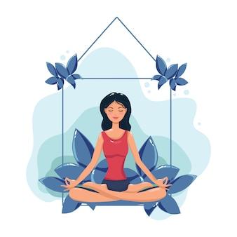 Een vrouw mediteert. illustratie van een concept voor yoga, meditatie, ontspanning, recreatie en een gezonde levensstijl.