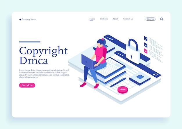 Een vrouw met dmca-gegevens copyright inhoud beveiligingsboek met slot elektronisch digitaal contract